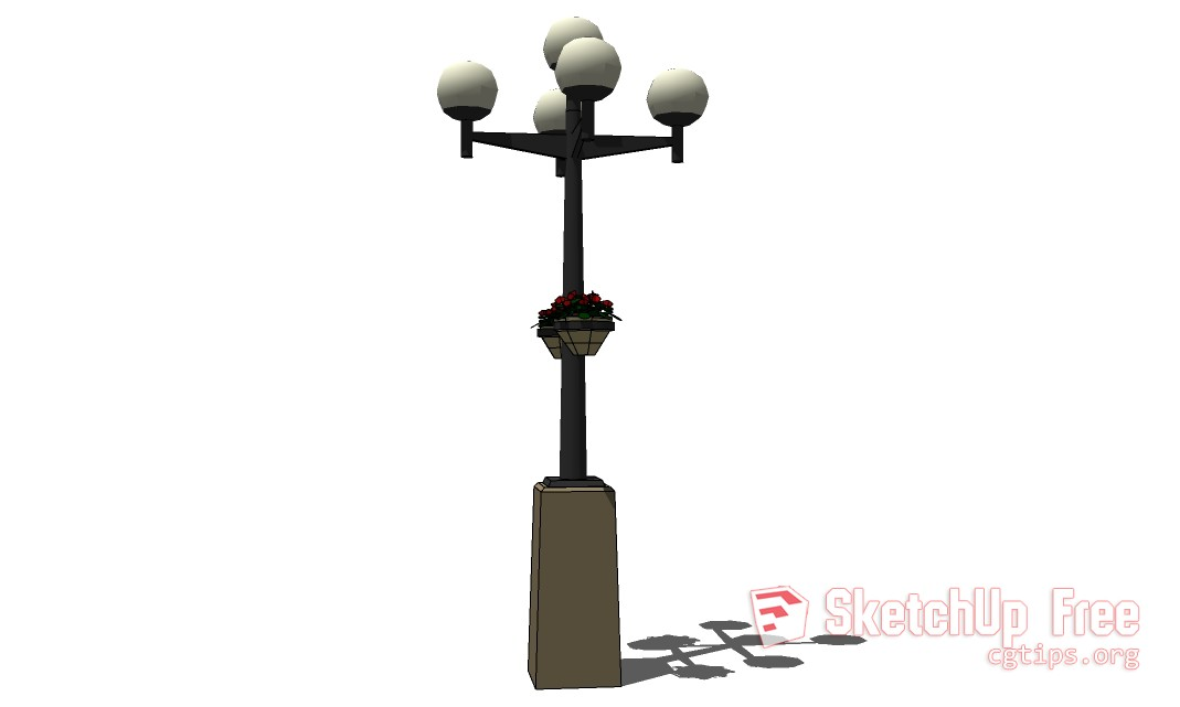 Lamp_Post_Globes_withPlants - Sketchup - 3D Model Free Download