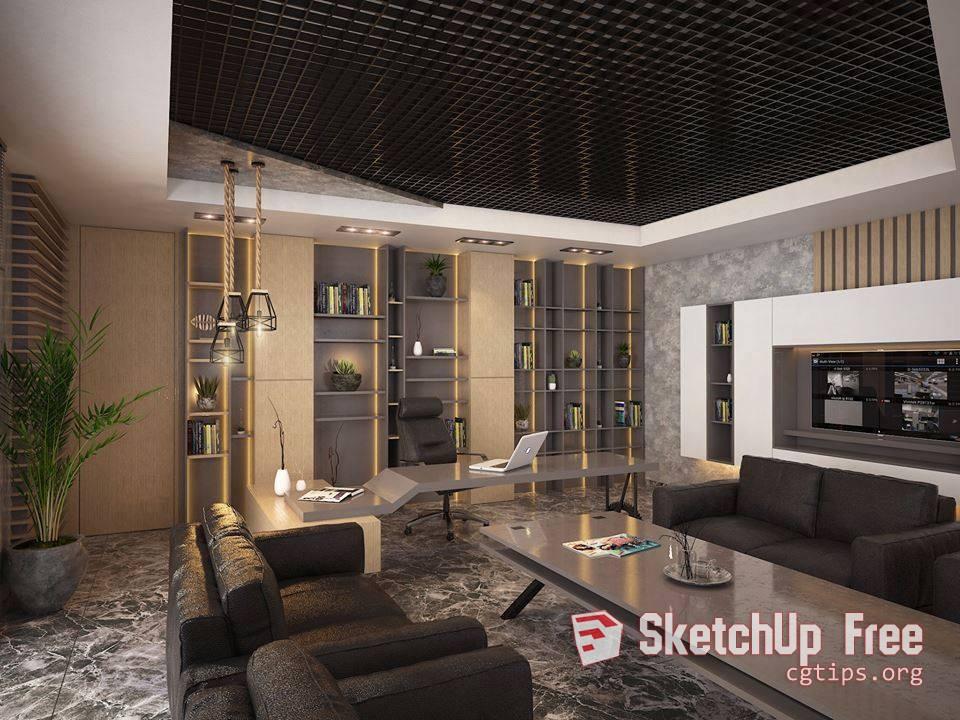 804 Office Work Interior Sketchup Model By Genel Müdür Free