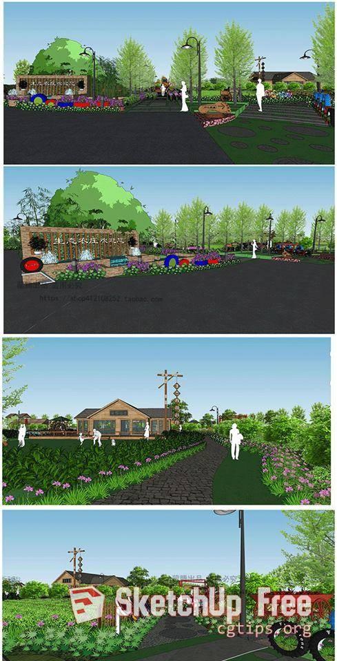 1138 Landscape garden Sketchup Model Free Download