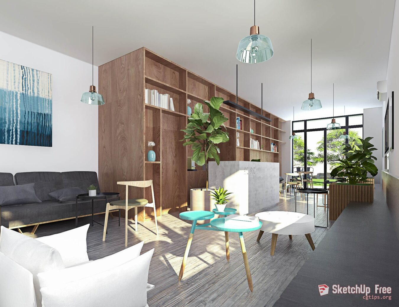 1176 Interior Cafe Showroom Scene Sketchup Model By Vu Phi Free Download