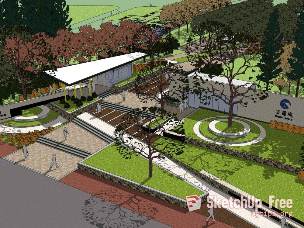 Exterior: 1164 Exterior Landscape Scene Sketchup Model Free Download