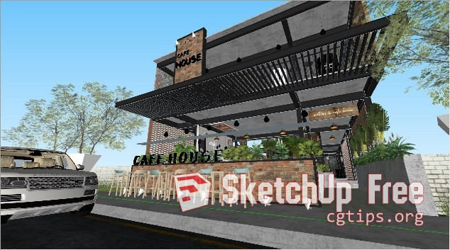 Exterior: 979 Exteriors Cafe House Scene Sketchup Model Free Download