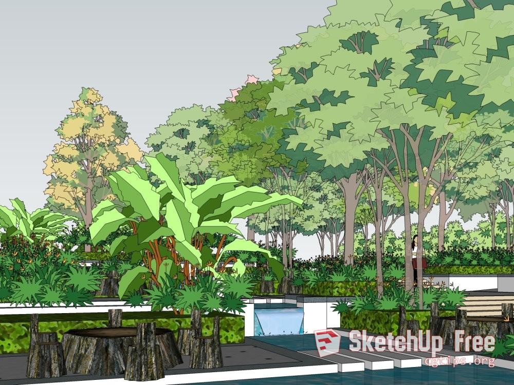 Exterior: 1163 Exterior Landscape Scene Sketchup Model Free Download