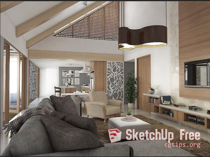 1105 Interior Dining- Livingroom Scene Sketchup Model Free Download