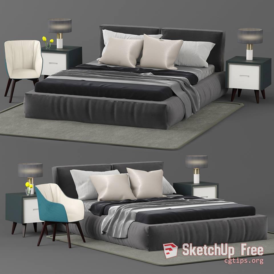 1232 Bed Sketchup Model Free Download