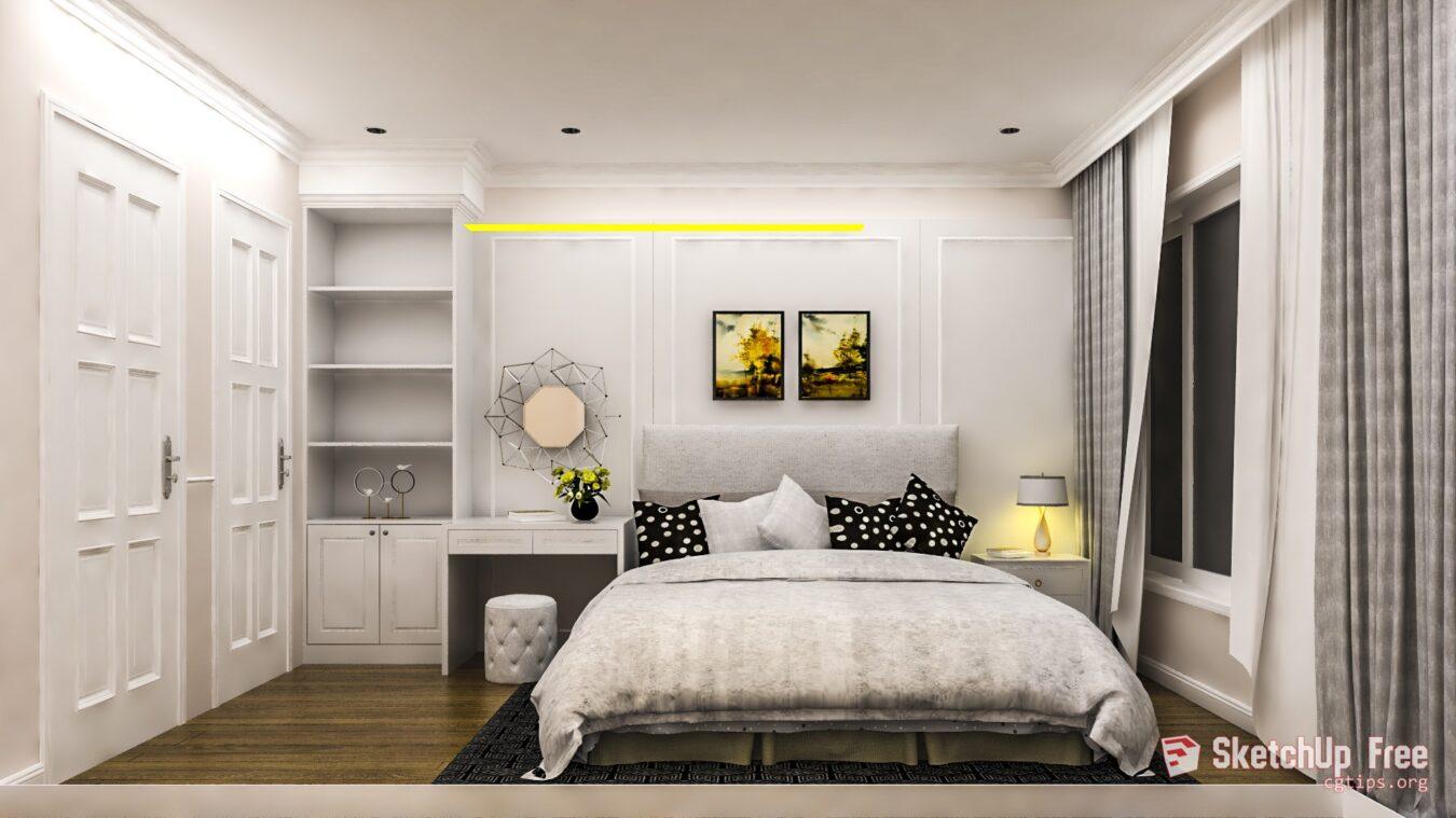 1237 Interior Nice Bedroom 3 Scene Sketchup Model Free Download