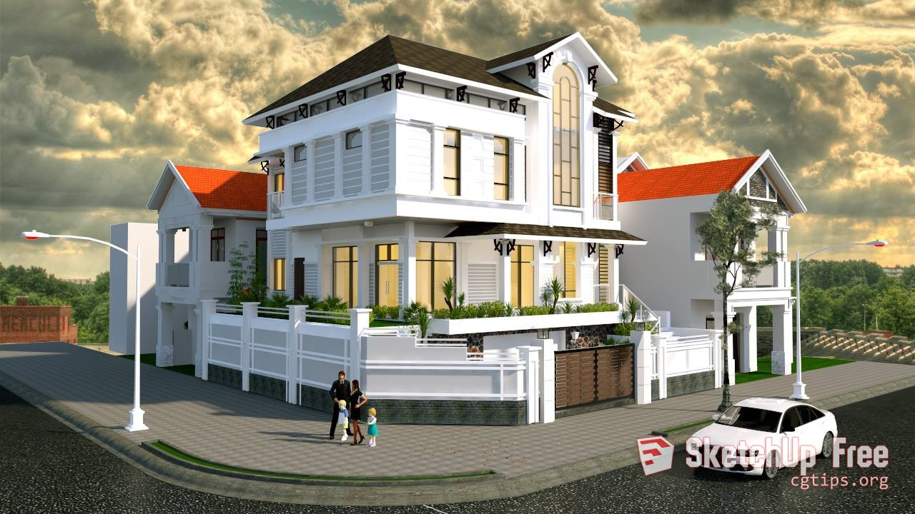Exterior: 1249 Exterior Street House Scene Sketchup Model Free Download