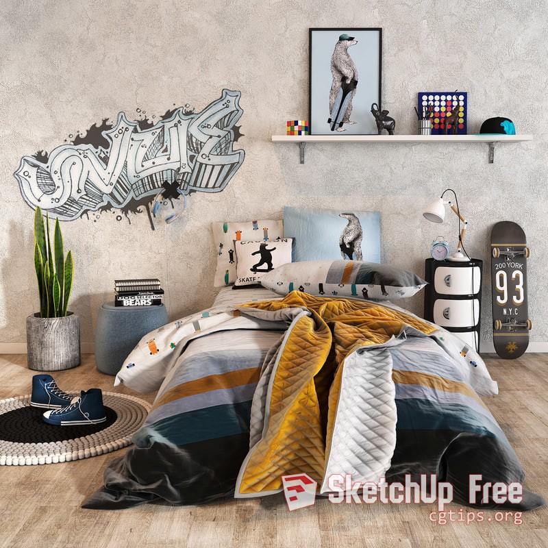 1287 Child Bed Sketchup Model Free Download