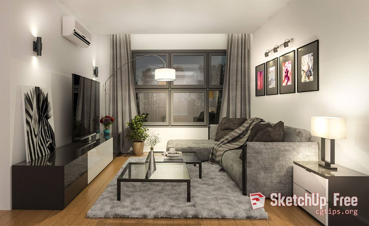 1357 Interior Livingroom Scene Sketchup Model By Tuong Le Free Download
