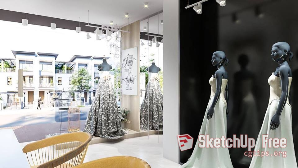 1413 Fashion Shop 3 Sketchup Model Free Download