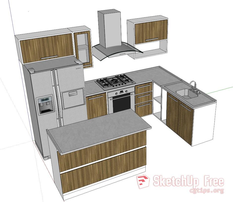 Kitchen Set Sketchup: 1316 Kitchen Sketchup Model Free Download