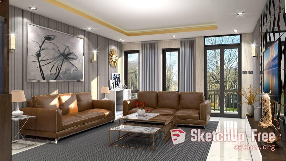 1445 Interior Dining - Livingroom Sketchup Model By La Tuan