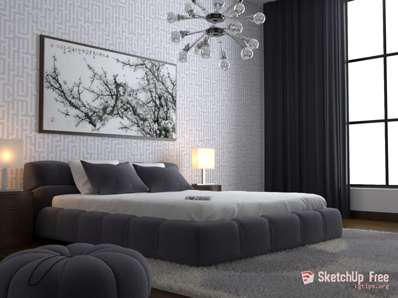 1635 Interior Bedroom Scene Sketchup Model Free Download