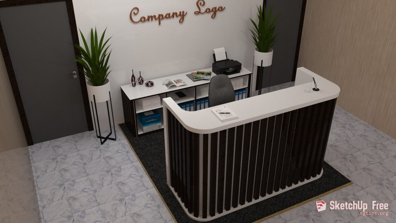 1669 Receptionist Desk Office Table Sketchup Model Free Download