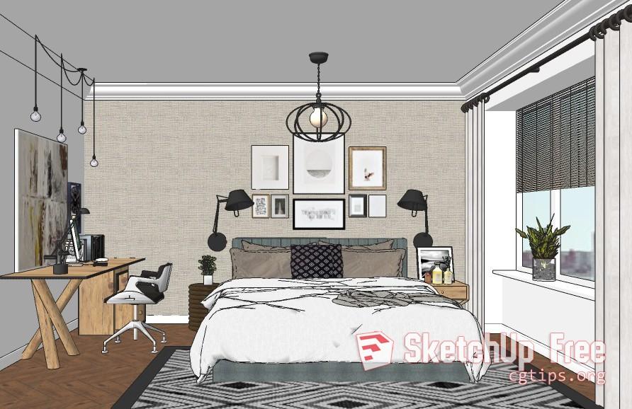 Exterior: 1671 Interior Bedroom Scene Sketchup Model Free Download