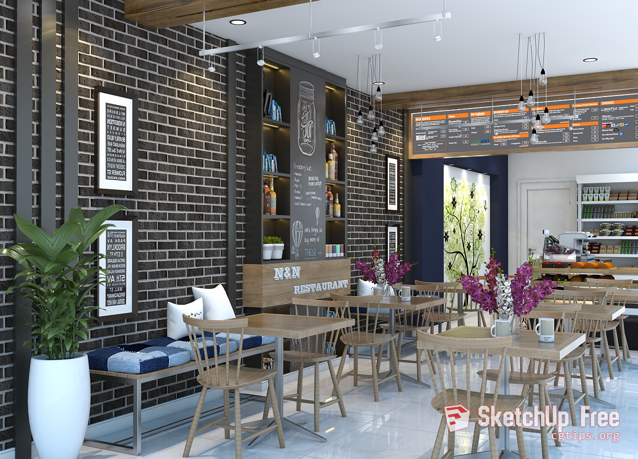 1674 Interior Restaurant Scene Sketchup Model Free Download