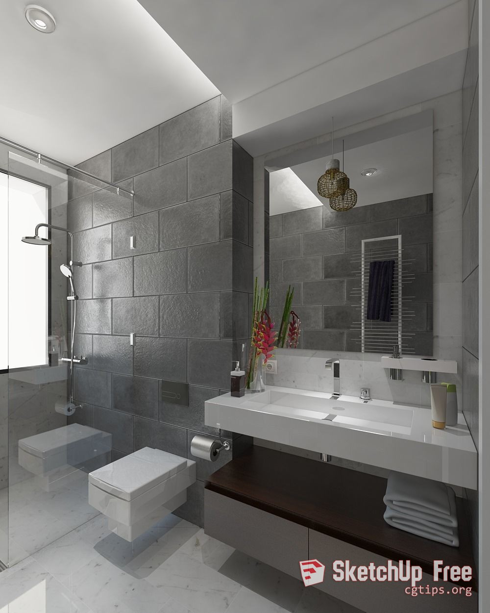 1694 Bathroom Sketchup Model Free Download