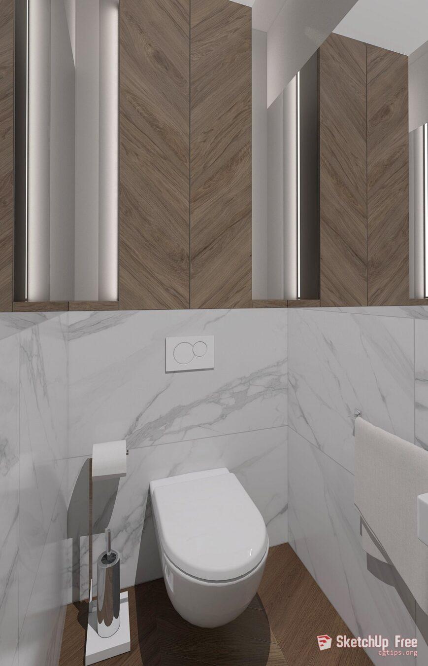 1707 Toilet And Bidet Sketchup Model Free Download