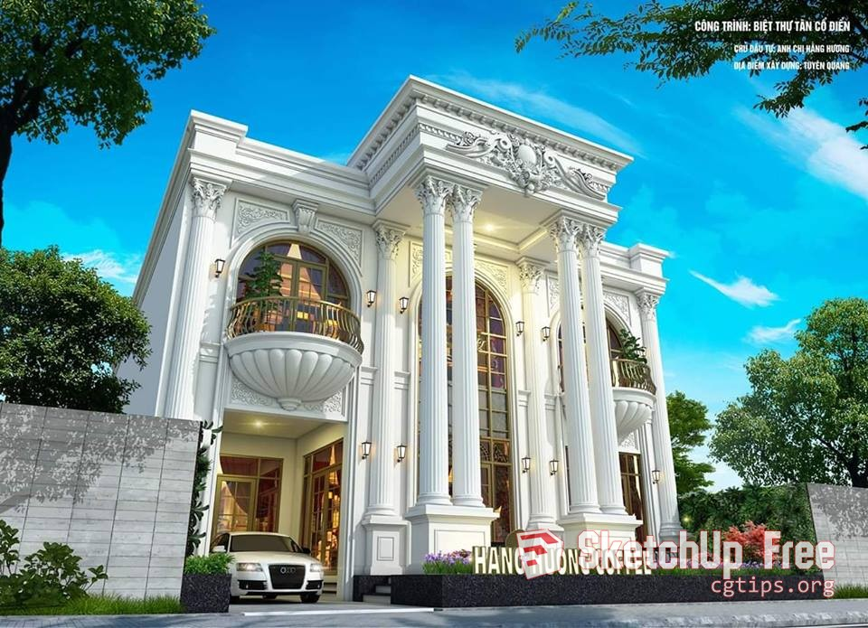 1729 Exterior Classic Building Scene Sketchup Model By Toan