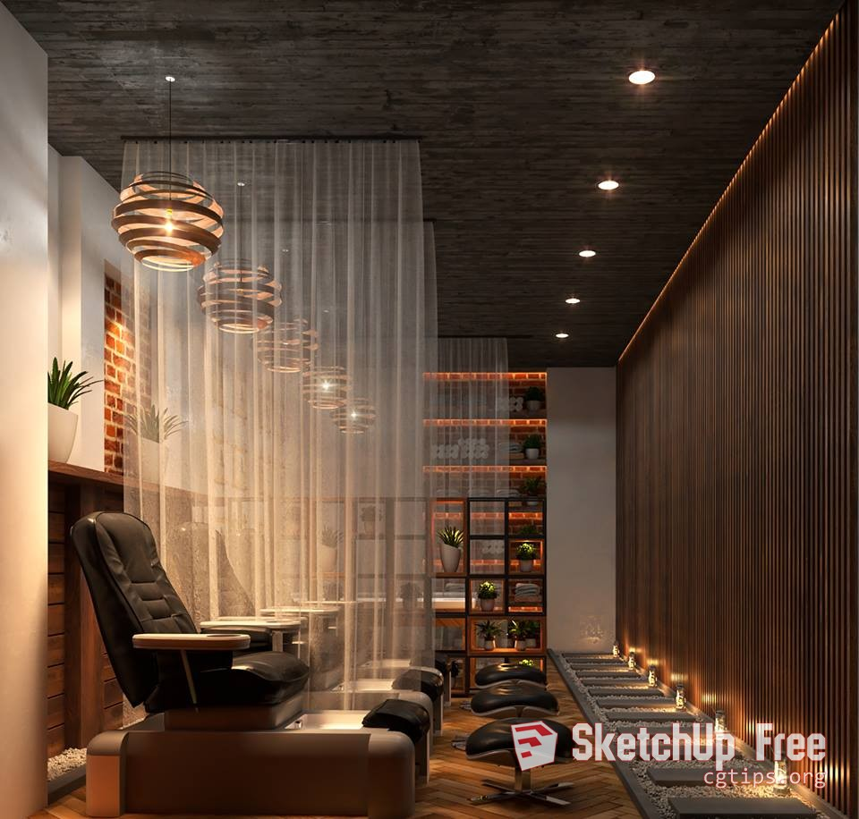 1773 Interior Spa Sketchup Model Free Download
