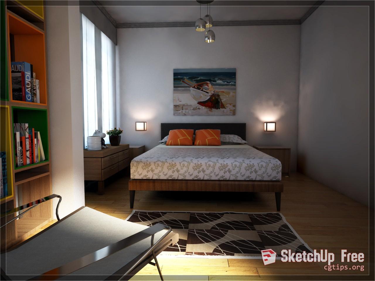 Exterior: 1787 Interior Bedroom Scene Sketchup Model Free Download