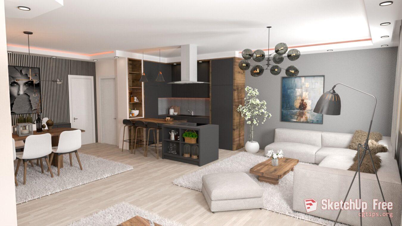 Exterior: 1812 Interior Livingroom Scene Sketchup Model Free Download