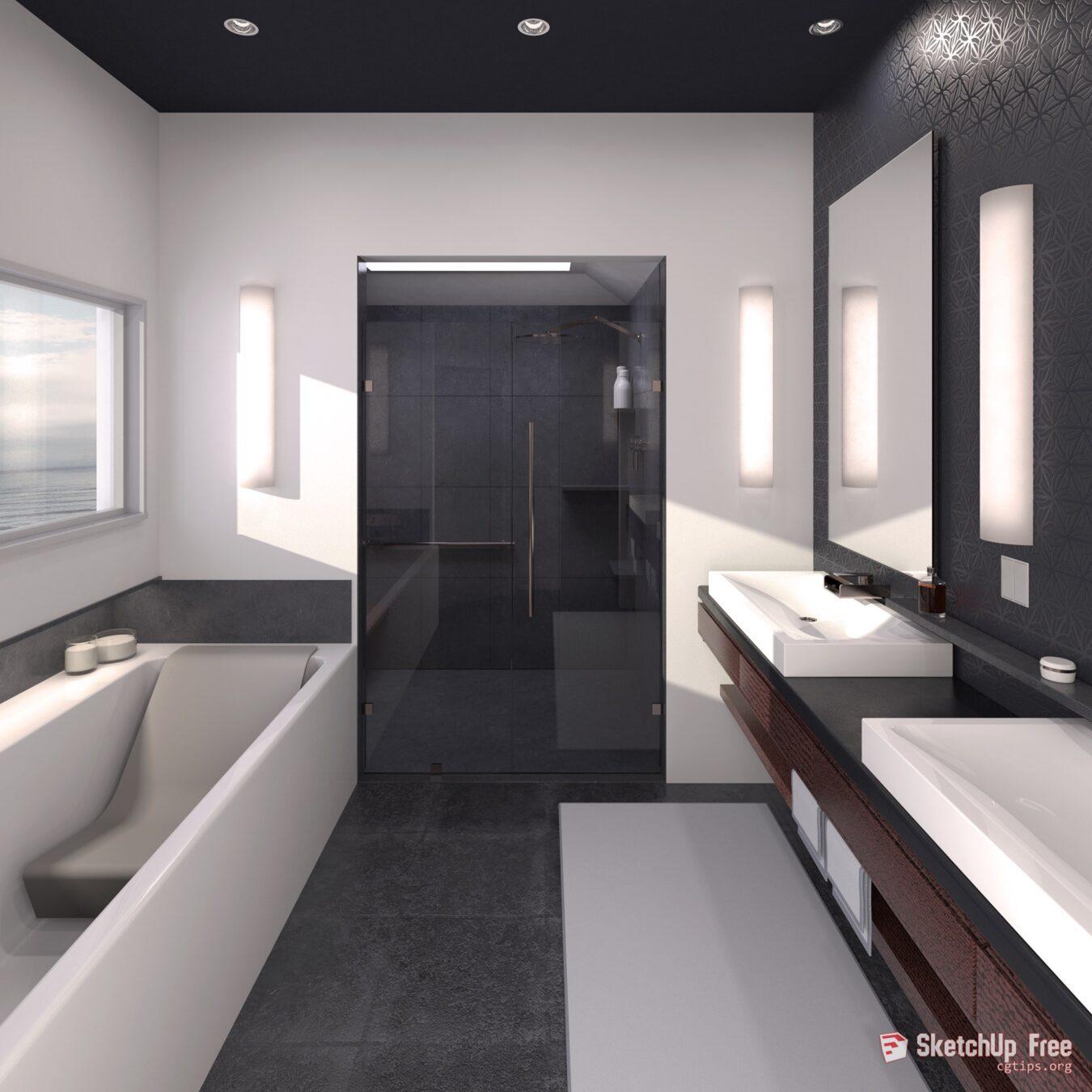 1827 Bathroom Sketchup Model Free Download on Bathroom Model  id=83352
