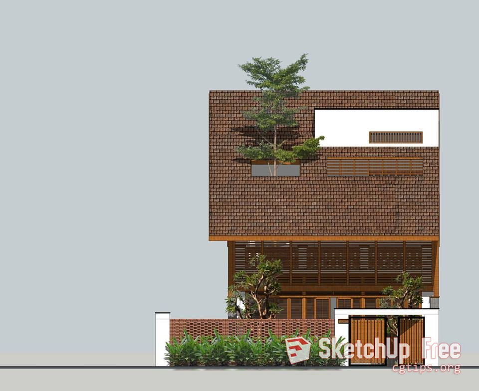 Exterior: 1993 Exterior House Scene Sketchup Model Free Download