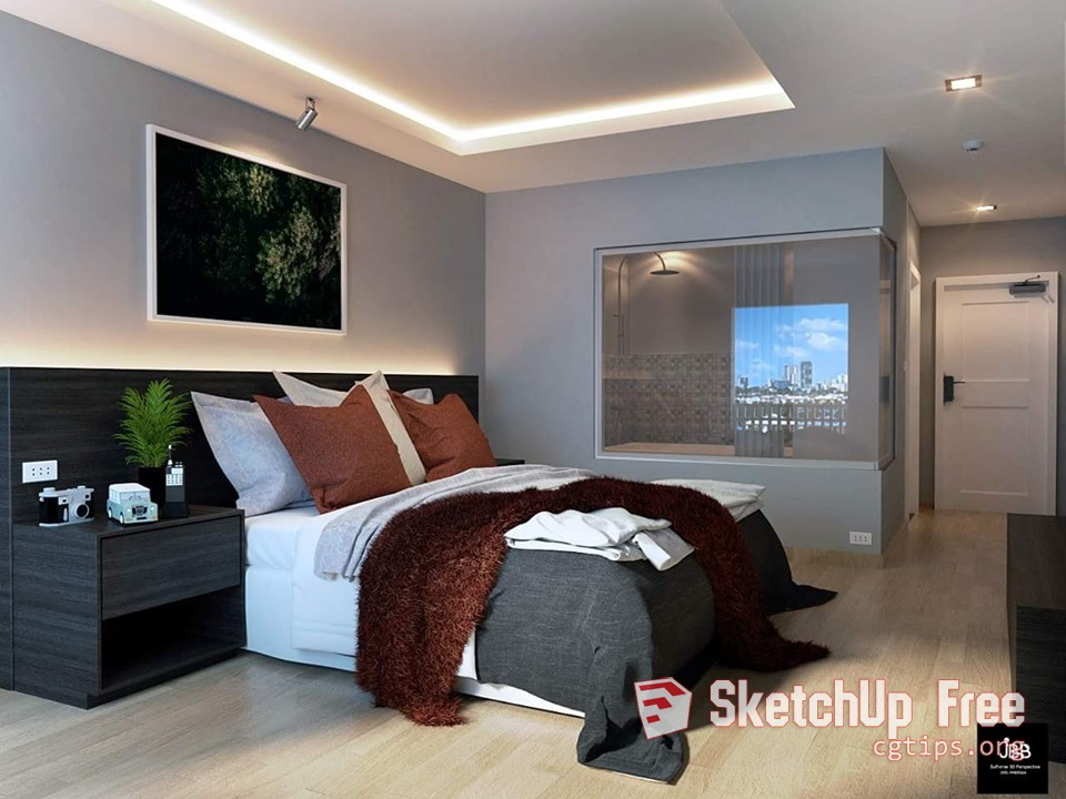 2017 Interior Bedroom Scene Sketchup Model Free Download