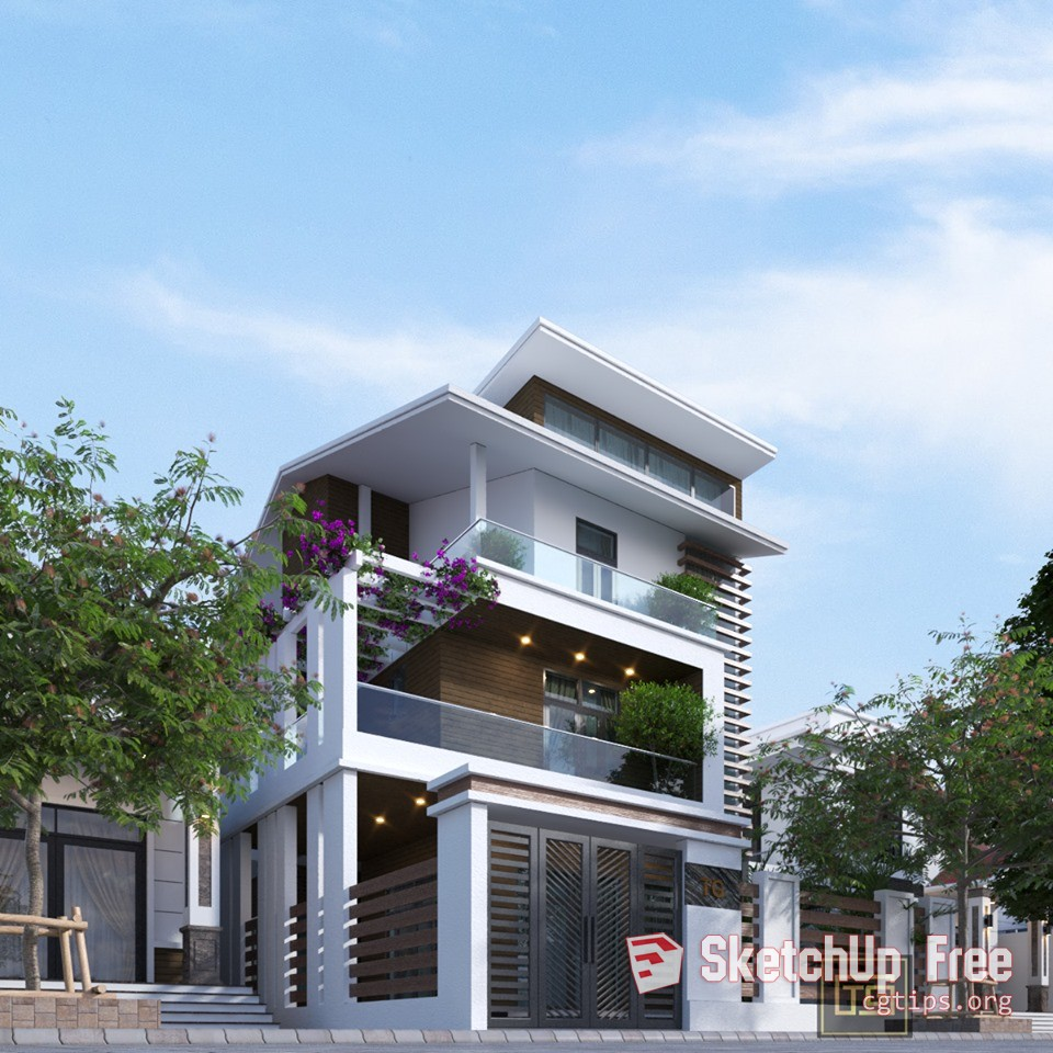 Exterior: 2022 Exterior Townhouse Scene Sketchup Model By Xuan Khanh