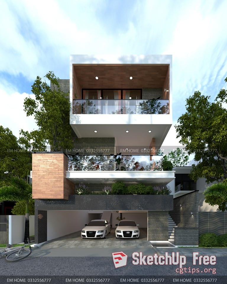 Exterior: 2056 Exterior House Scene Sketchup Model Free Download