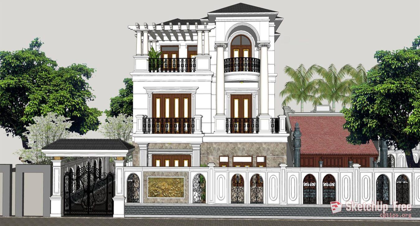Exterior: 2077 Exterior Neoclassical Villa Scene Sketchup Model Free