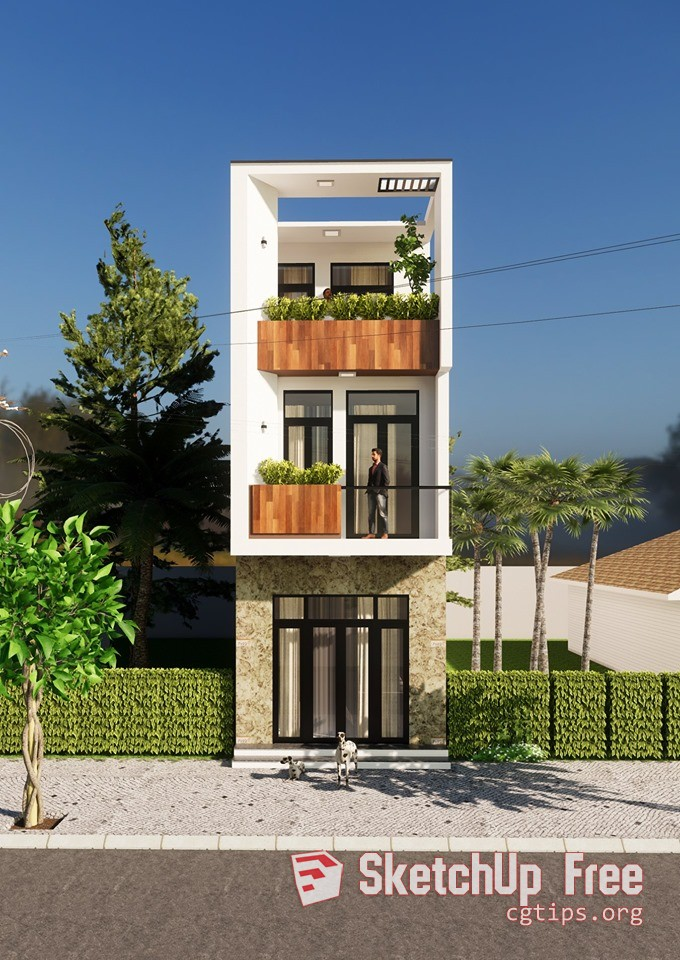 Exterior: 2092 Exterior House Scene Sketchup Model By Thao Nguyen