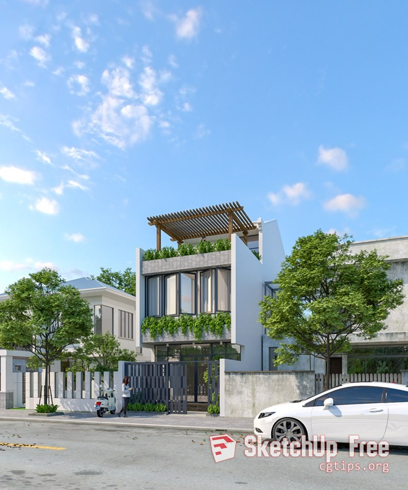 Exterior: 2118 Exterior House Scene Sketchup Model By Dat Ho Free