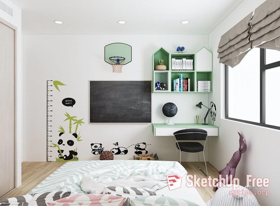 2154 Child Bed Sketchup Model Free Download