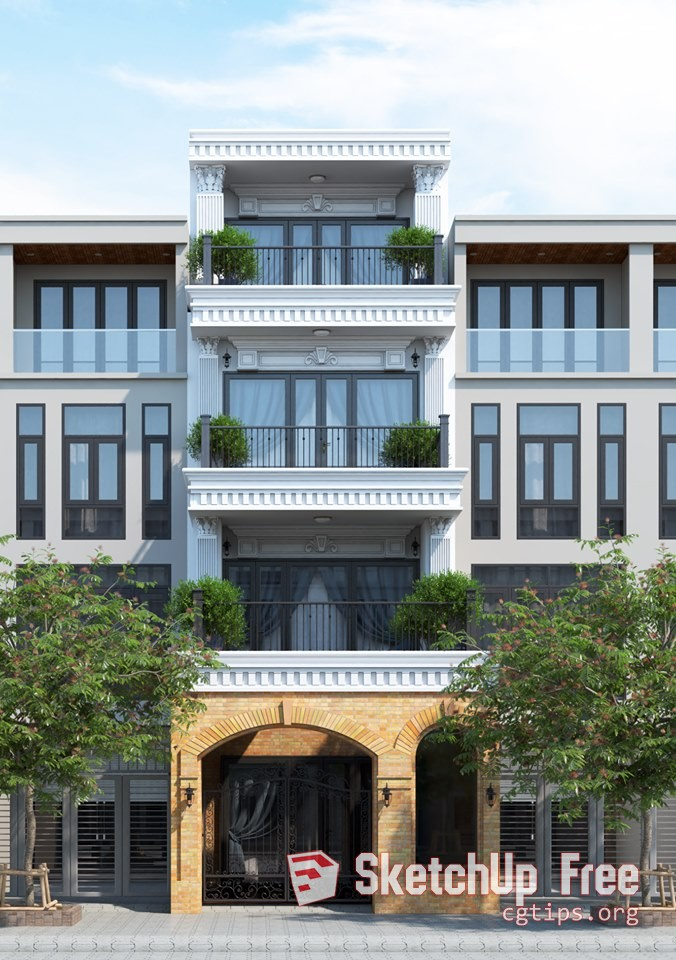 Exterior: 2201 Exterior House Scene Sketchup Model By Xuan Khanh