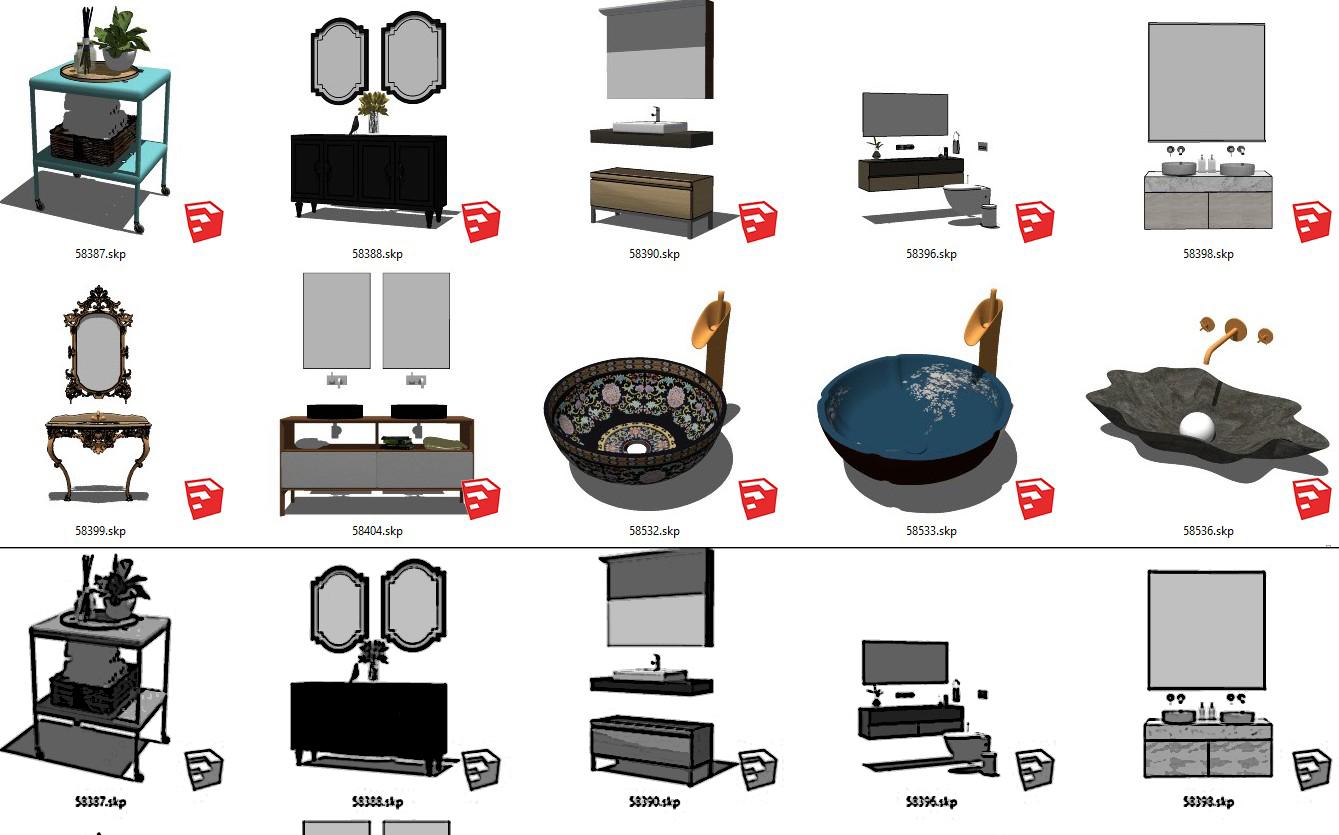 6107 Wash Basin Sketchup Model Free Download