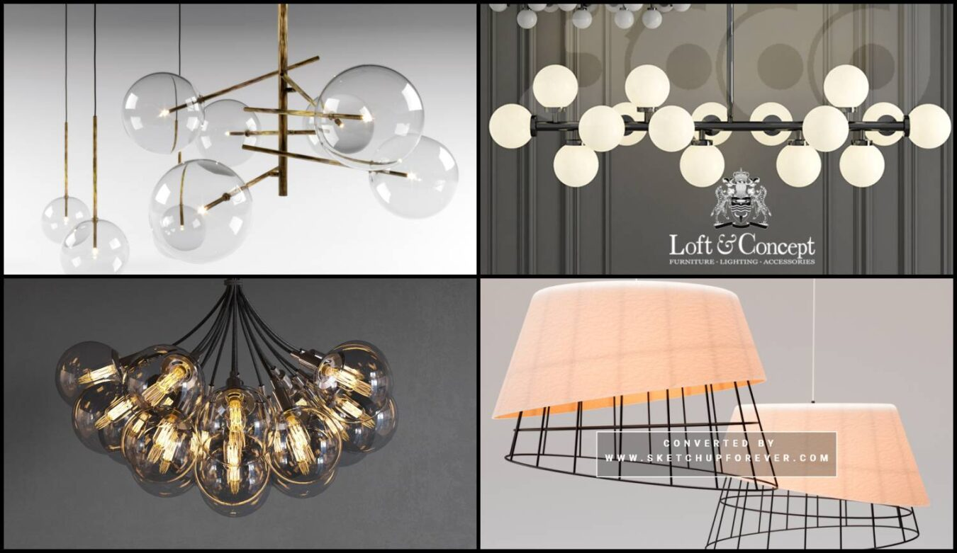6167 Ceiling Lights Collection Sketchup Model Free Download