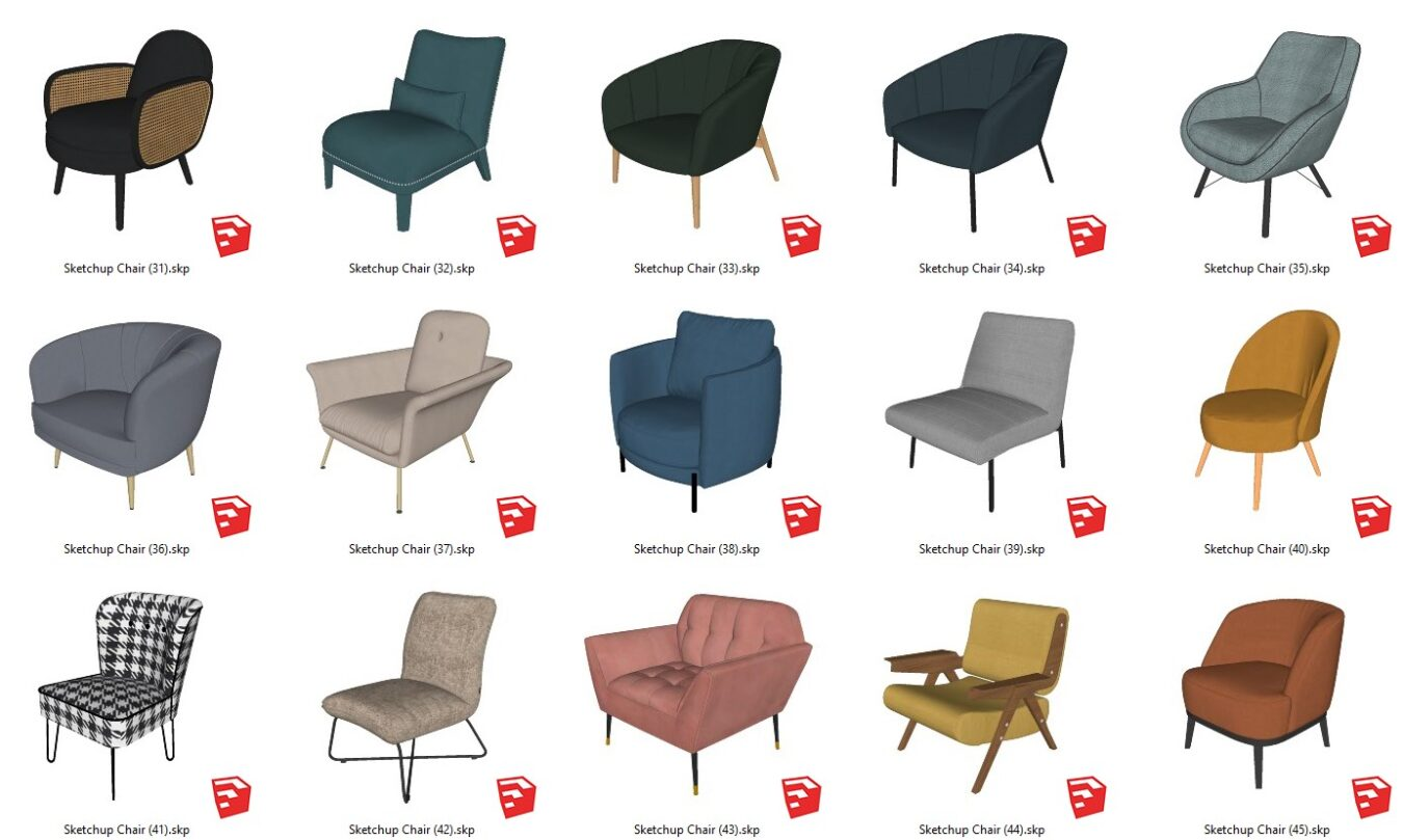 6329. Sketchup Chair Models For Free Download